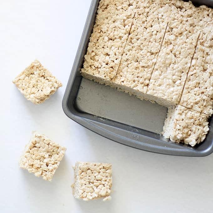 brown butter rice krispie treats recipe -- in baking pan cut in squares