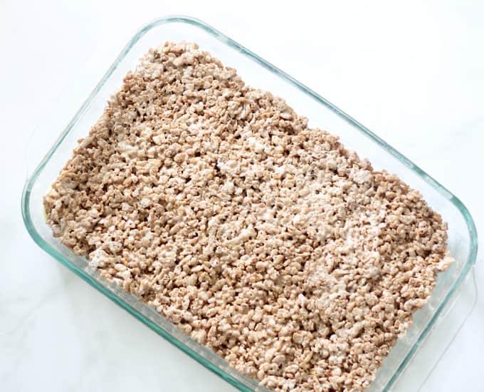 Cocoa Rice Krispie Treats image in baking pan