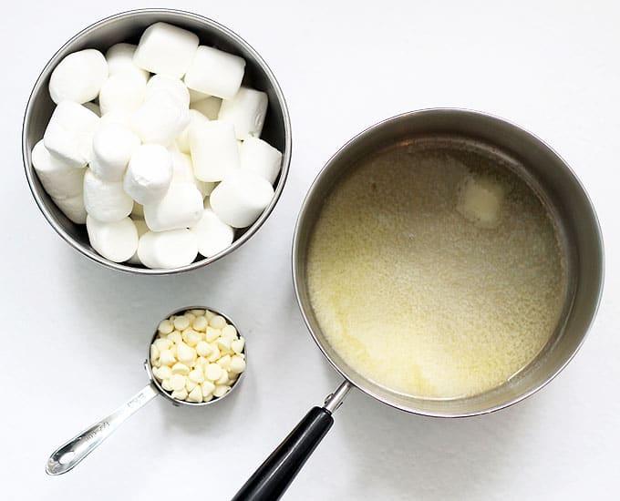 ingredients for flower Rice Krispie Treats recipe